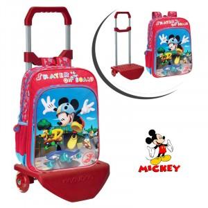 Image of 40123M1 Zaino scuola carrellino e ruote MICKEY MOUSE Skater trolley topolino Disney Junior 27 x 38 x 14  cm 8030000300369