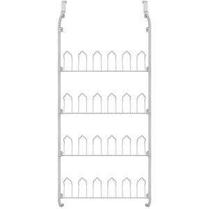 863849 Rack scarpiera 12 paia appendibile da porta bianca 17x60x145 cm metallo