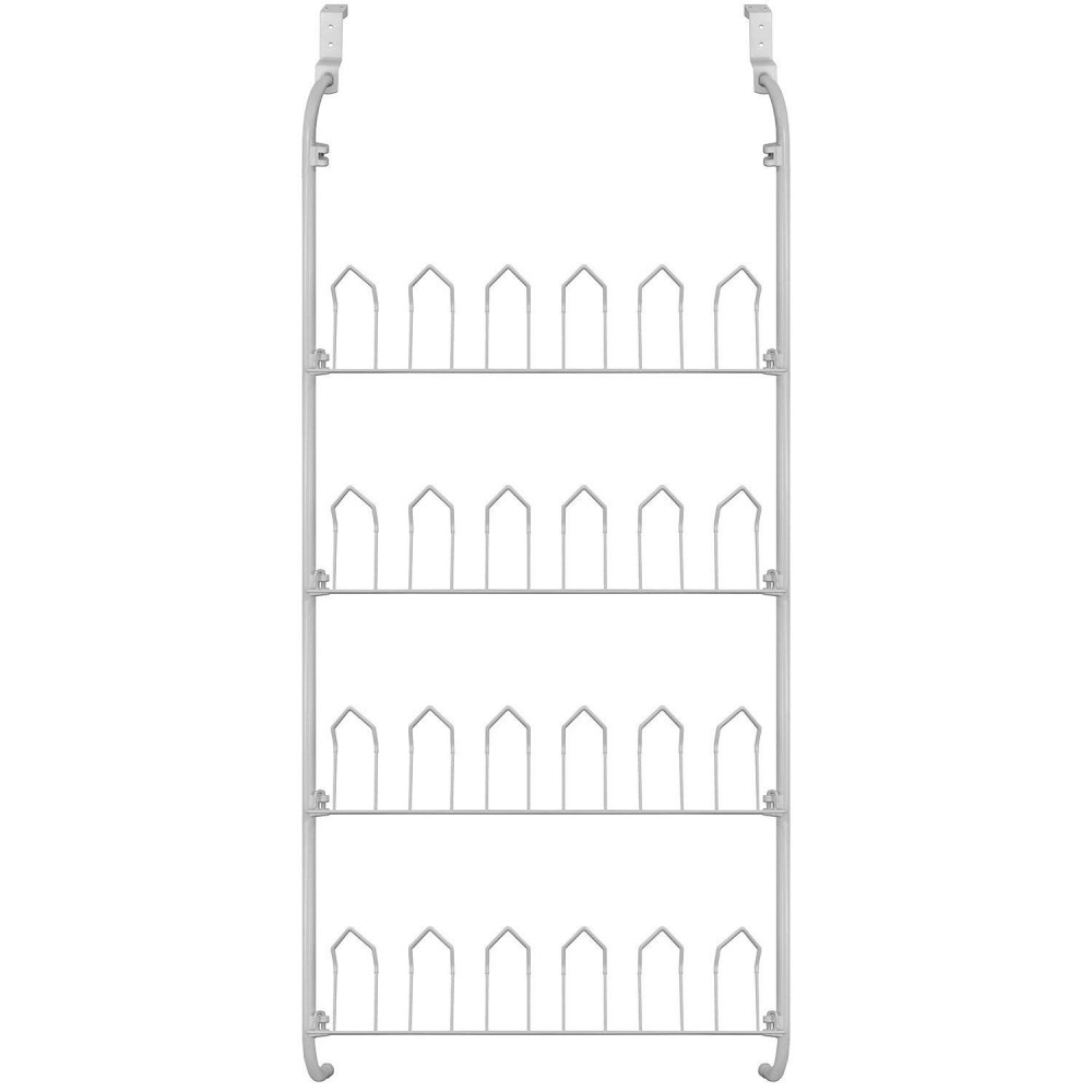 Rack scarpiera 12 paia appendibile da porta 863849 bianca 17x60x145 cm metallo