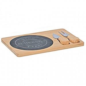 ALPINIA Tagliere per formaggio in bamboo 109961 con piastra in ardesia accessori