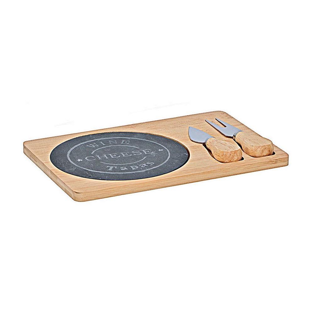 109961 Alpinia Tagliere per formaggio in bamboo con piastra in ardesia accessori