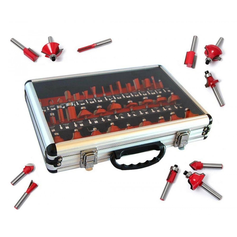 Set 35 frese kit fresa gambo 8 mm x legno cornice pantografo