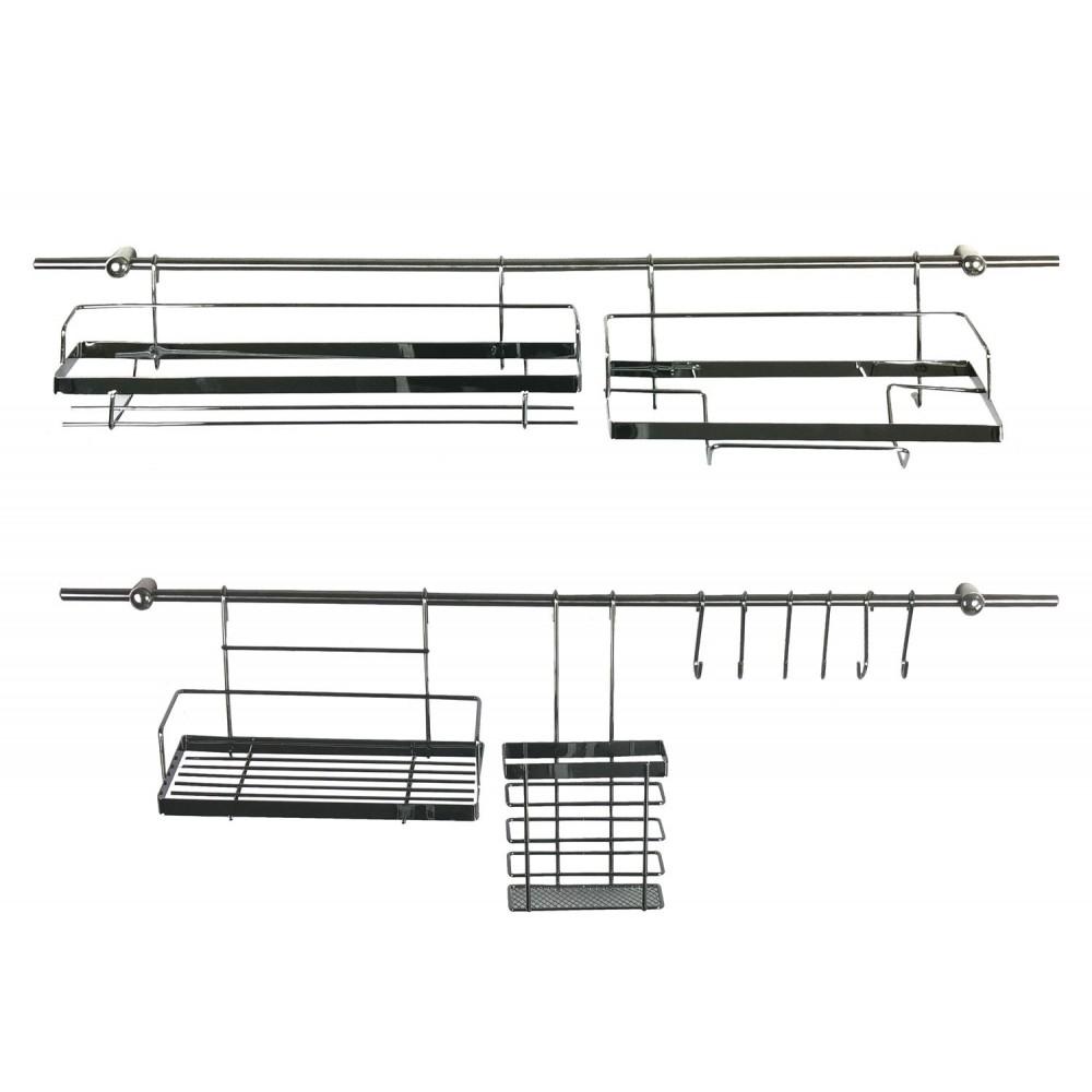 MAITRE CHEF 980603 Set di Appendi utensili da cucina 16 pezzi 2 barre da 72 cm