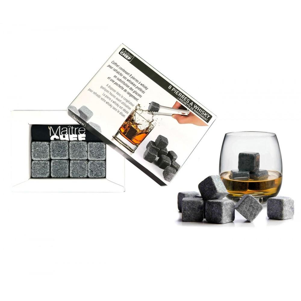Maitre Chef 930486 set 8 Pietre ghiaccio 2x2x2 cm per whiskey con pouchette