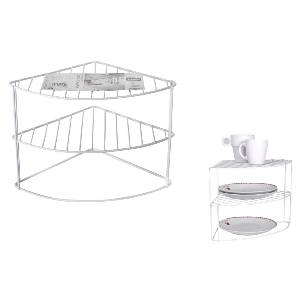 Mensola ad angolo per cucina 980504 in metallo verniciato 26x26x23 cm 3 livelli