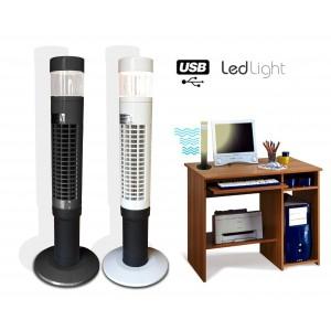 Ventilatore a torre usb da tavolo con luce a 7 led bianca funzione emergenza 1000177-1109