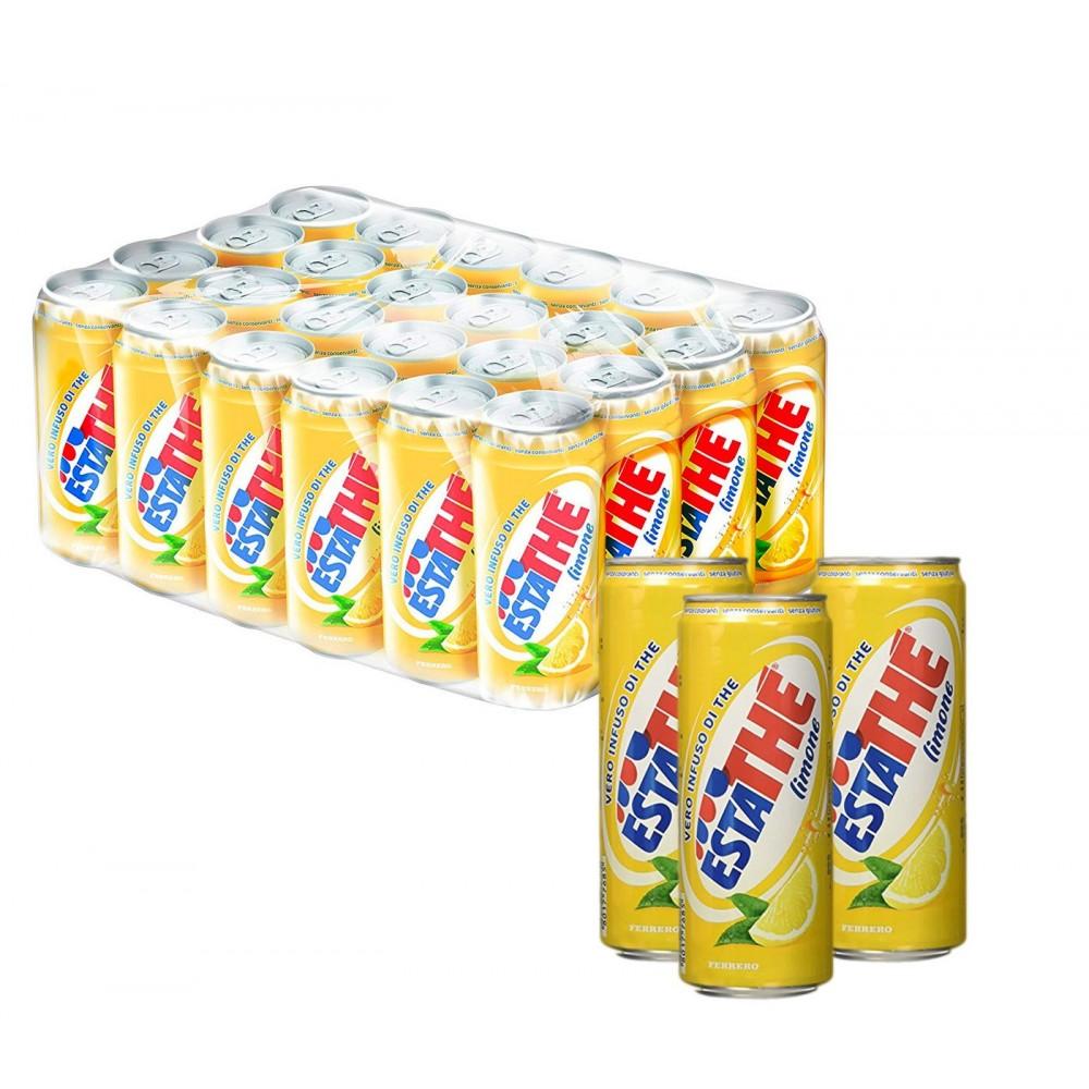 ESTATHÈ Limone confezione risparmio 24 lattine da 33 cl con vero estratto di Tè