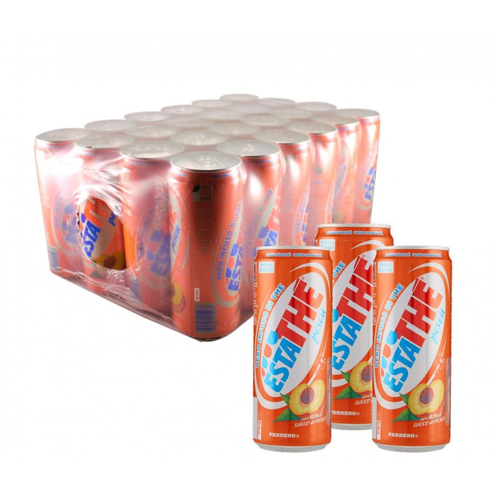 ESTATHÈ Pesca confezione risparmio 24 lattine da 33 cl con vero estratto di Tè