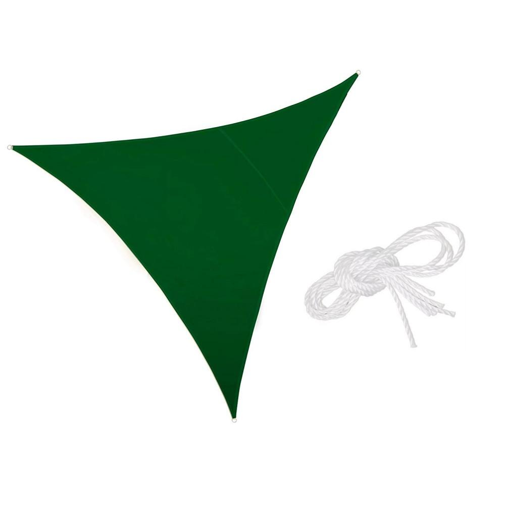 Telo triangolare Ombreggiante 482360 Verde 3x3x3 mt tenda a vela con corda