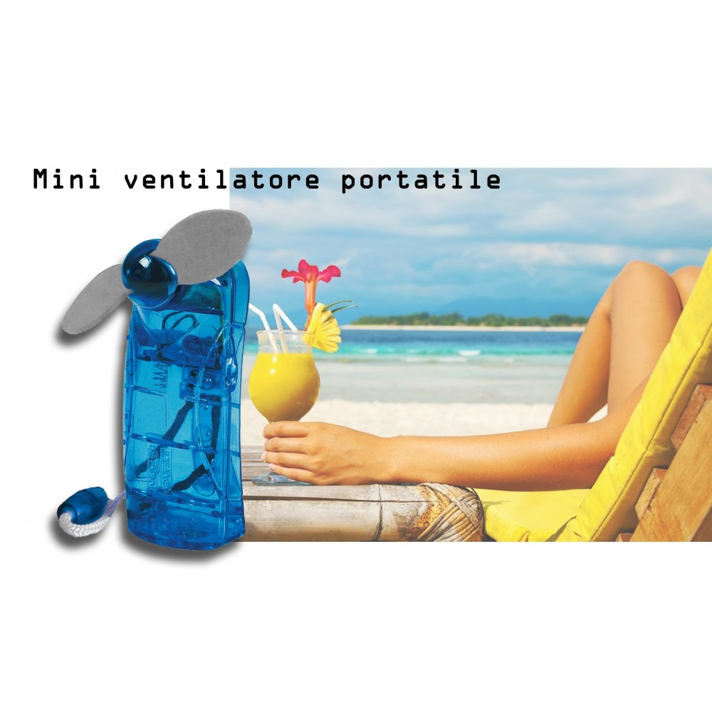 Mini ventilatore portatile a batterie a 2 pale soft comodo e tascabile BLU
