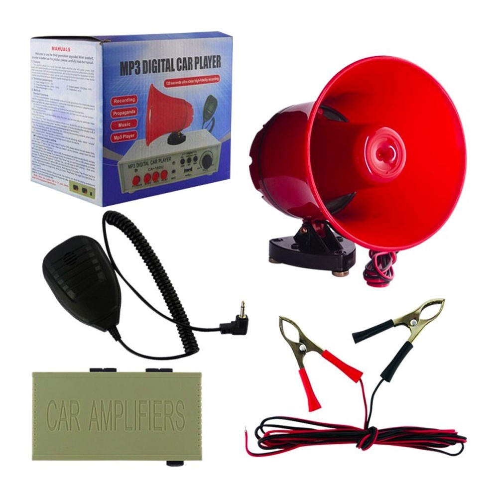 Megafono Da auto in PVC con amplificatore lettore USB per annunci pubblicità MP3