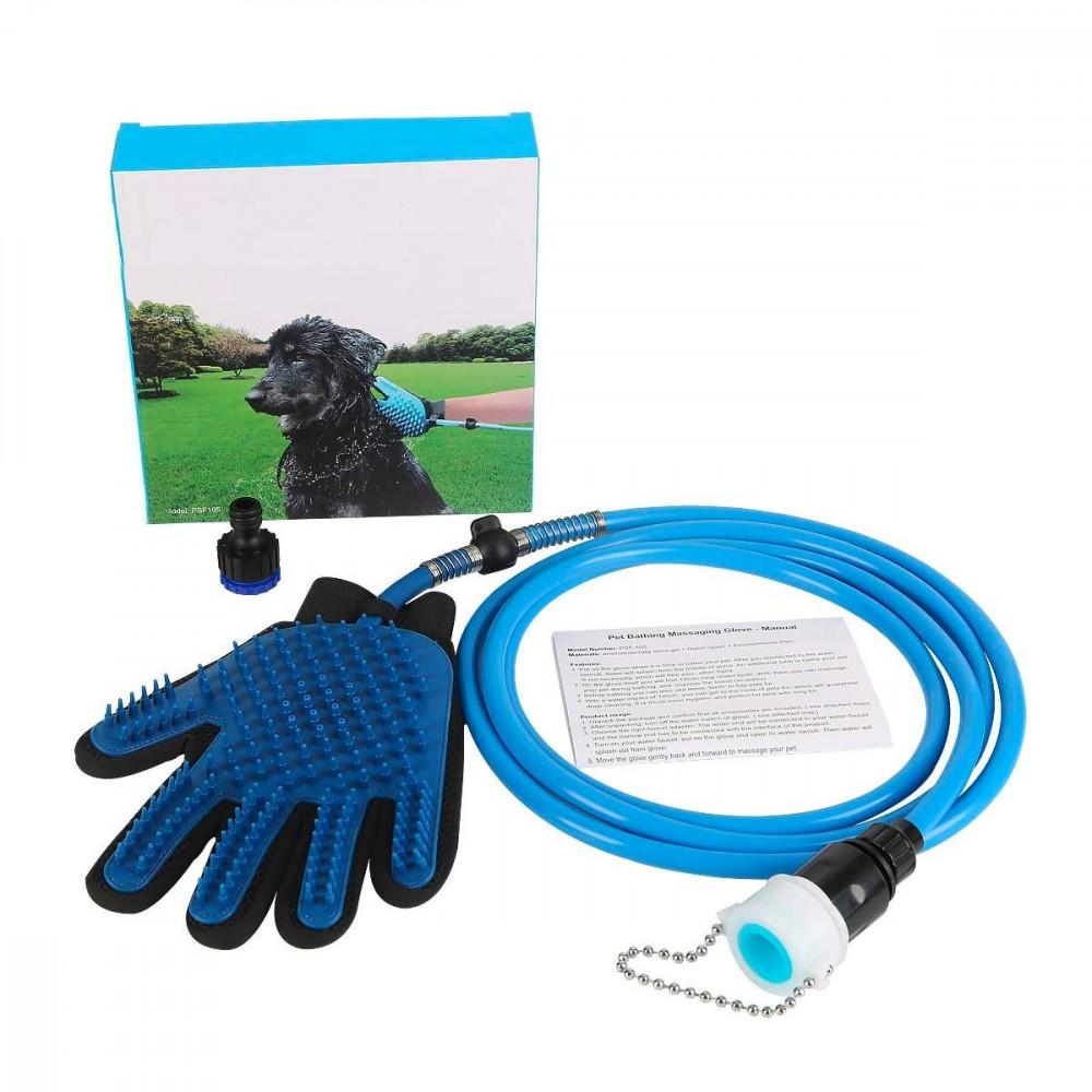 Guanto Massaggiante doccia CL-018 per animali tubo integrato aggancio universale