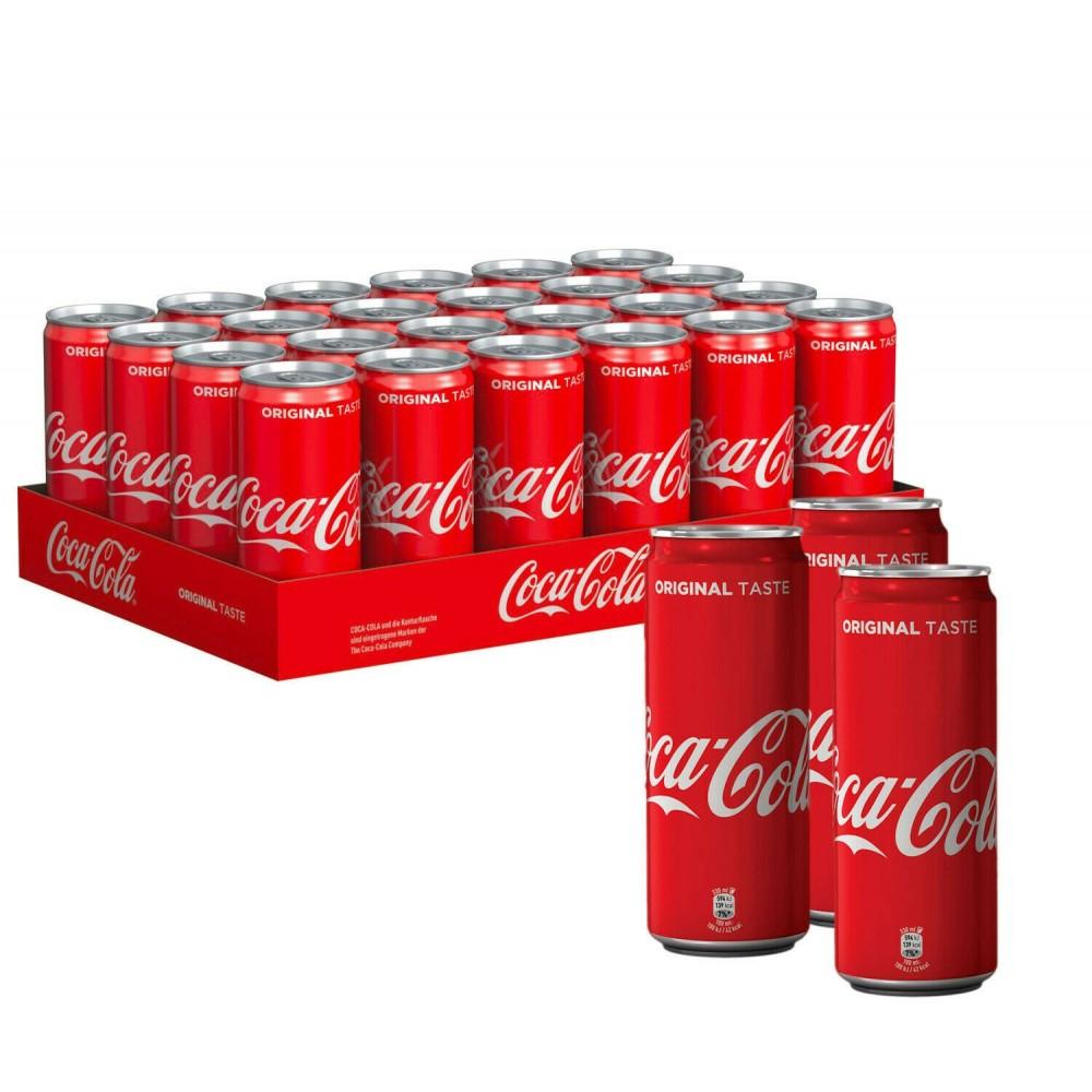 COCA COLA confezione risparmio 24 lattine da 33 cl original cans sleek