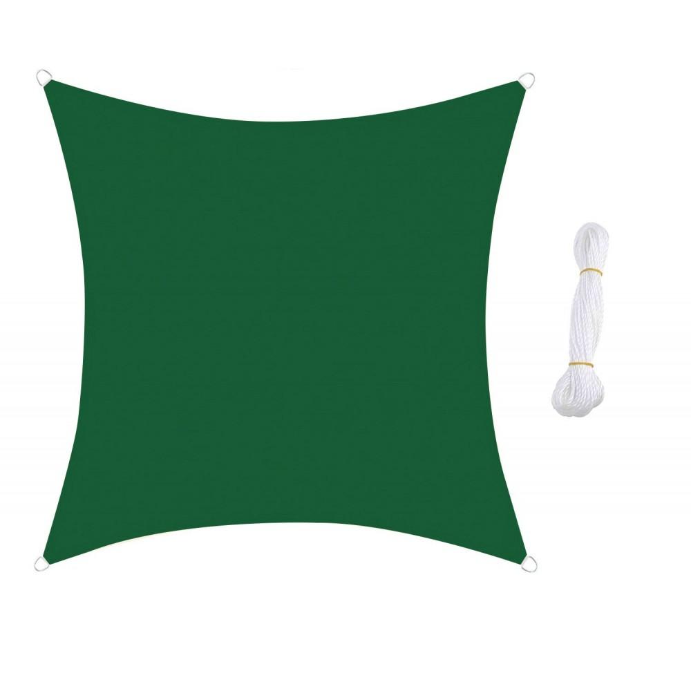 Telo Ombrengiante QUADRATO 482452 Verde 5x5m agganci rinforzati e corda in nylon