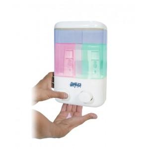 Dispenser dosatore di sapone doppio serbatoio erogazione a pressione e fissaggio al muro