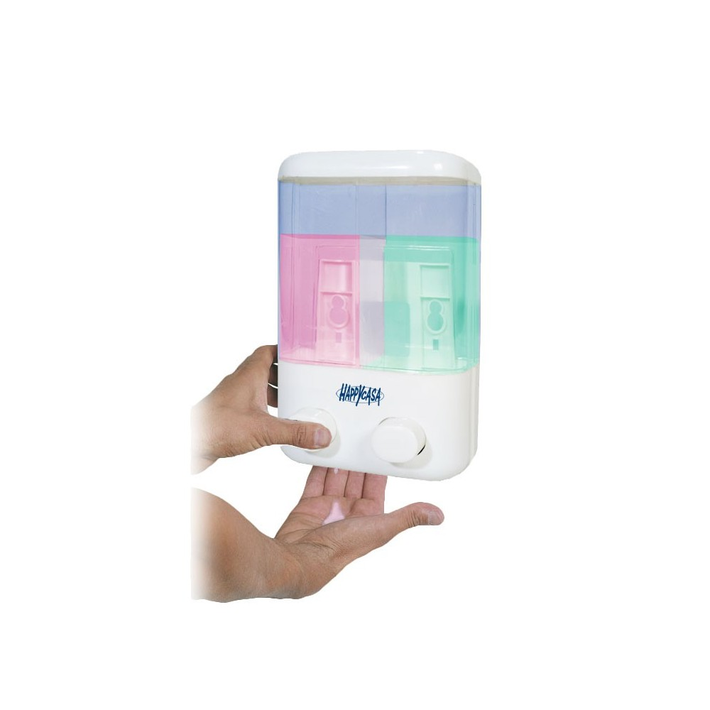 Dispenser dosatore di sapone doppio serbatoio erogazione a pressione e fissaggio a muro 748666