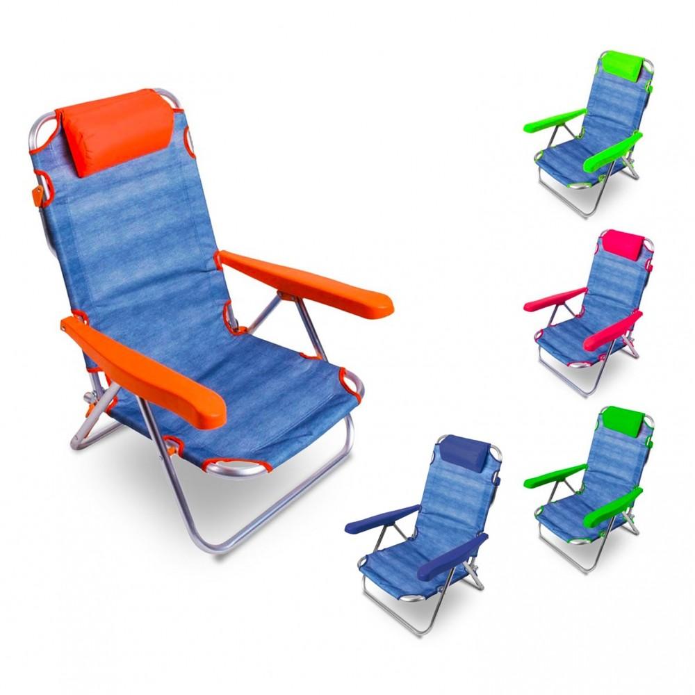 Spiaggina alluminio totalmente reclinabile ONSHORE 379837 con braccioli cuscino