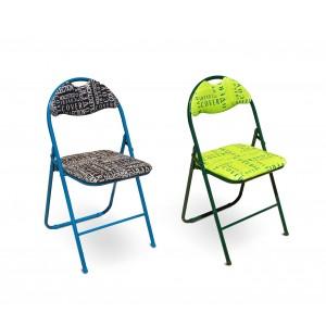 Set 2 sedie pieghevoli 6008 COVERI base in metallo schienale e seduta imbottiti
