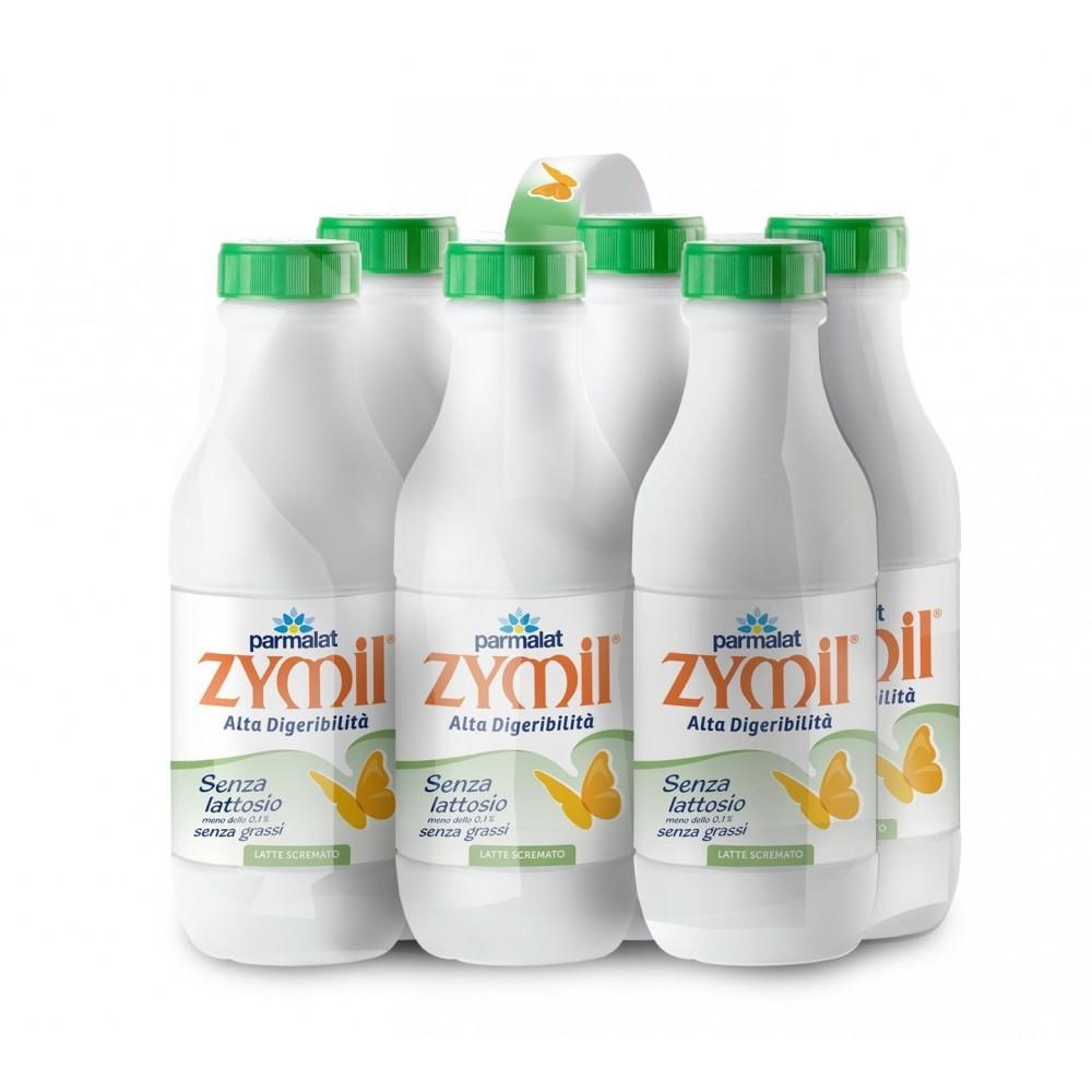 Latte senza Lattosio Zymil Pack da 6 bottiglie 1 lt scremato tappo verde