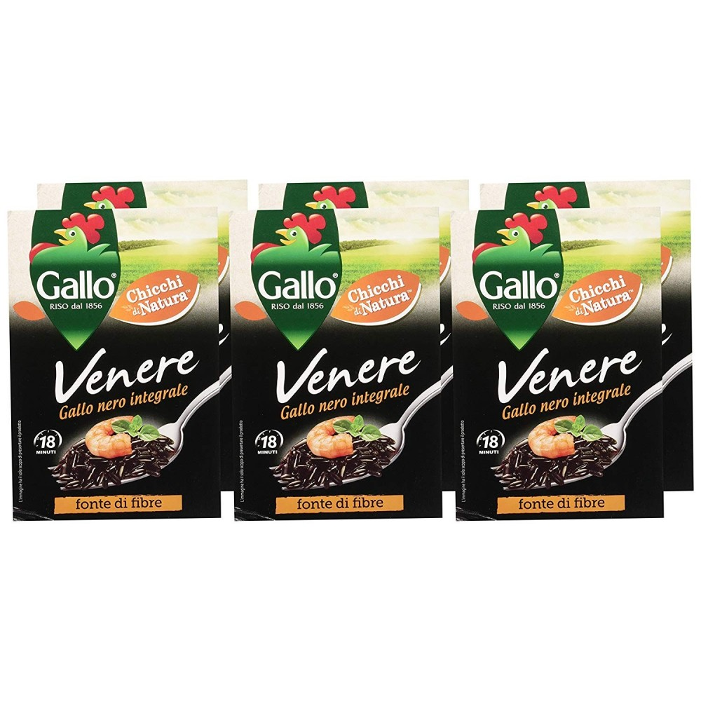 Gallo Venere riso Nero naturale 500 g confezione da 6 pacchi INTEGRALE