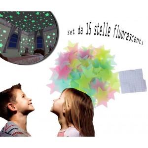 Set di 15 stelle fluorescenti di diverse misure decorazione murale autoadesiva removibile 608124