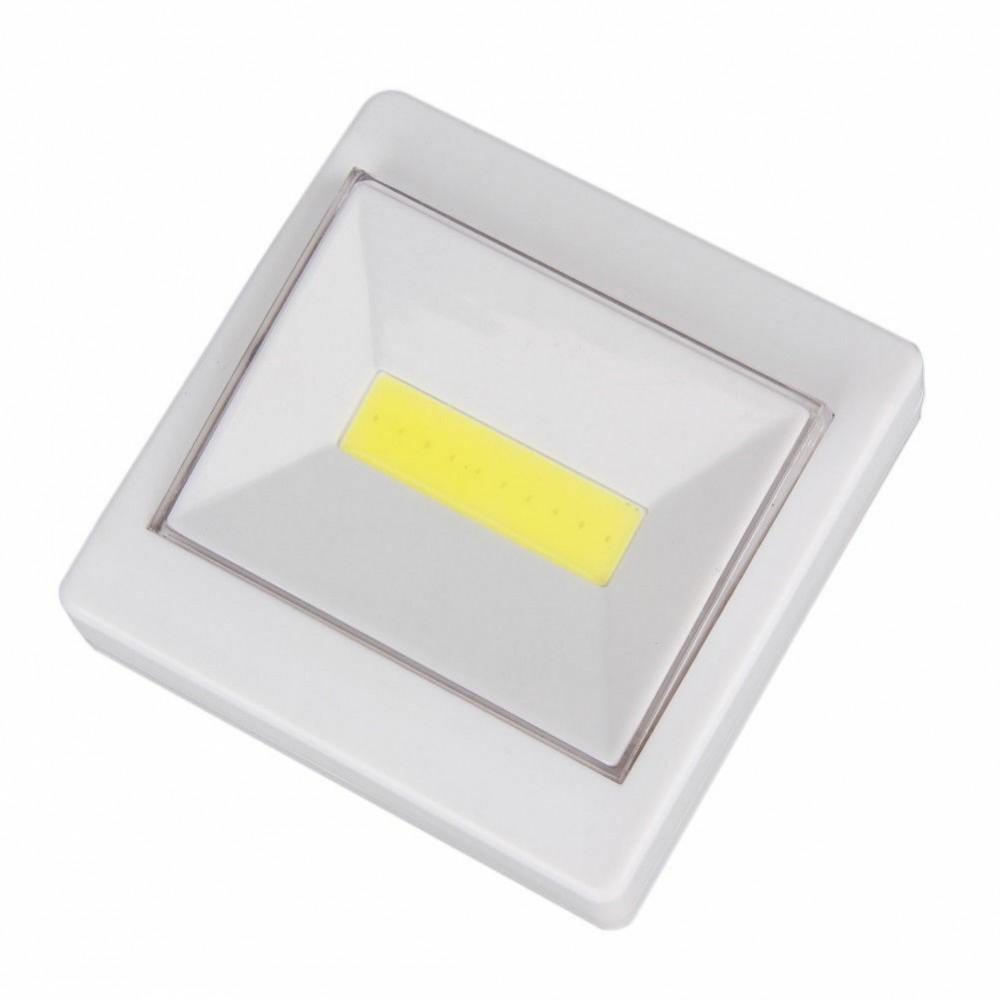 Luce LED COB a batterie  618127 con pulsante e attacchi magnetici 9x9 cm SWITCH