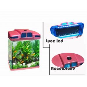 Acquario 6 litri 19x 15 x 27 cm  luci led 4w con filtro vari colori
