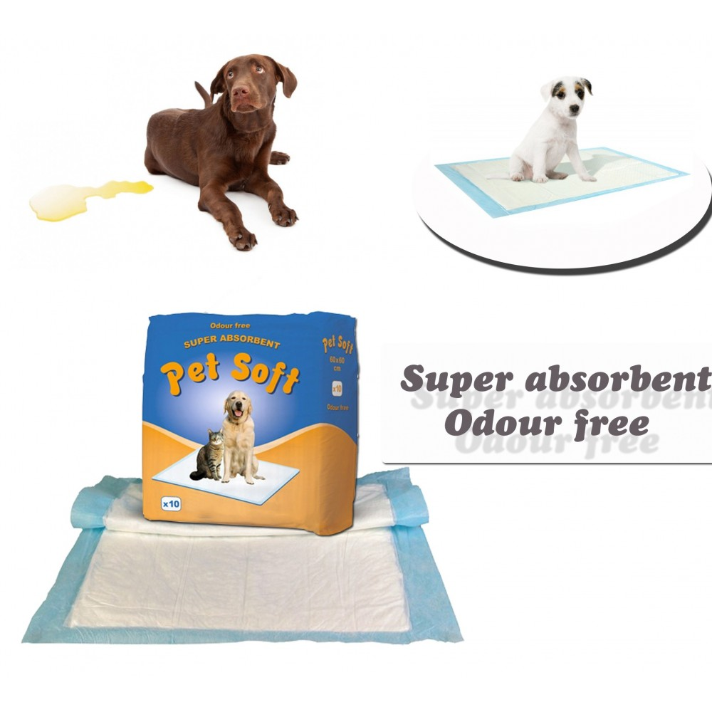 Pack 10 traverse per cani 90 x 60 cm PET SOFT tappeto super assorbente traversine cattura odori bisogni animali