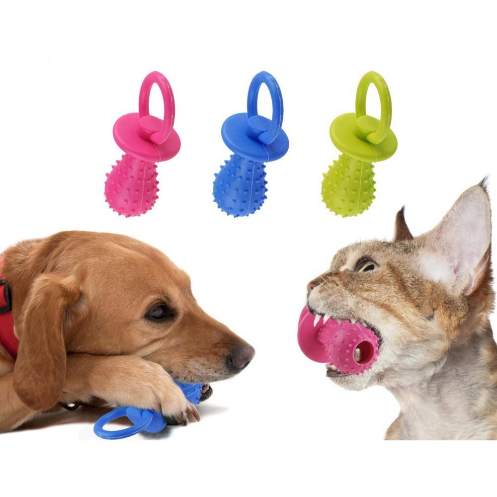 Gioco riportino per animali domestici ciuccio in gomma sonoro 14 CM morbido per cani e gatti