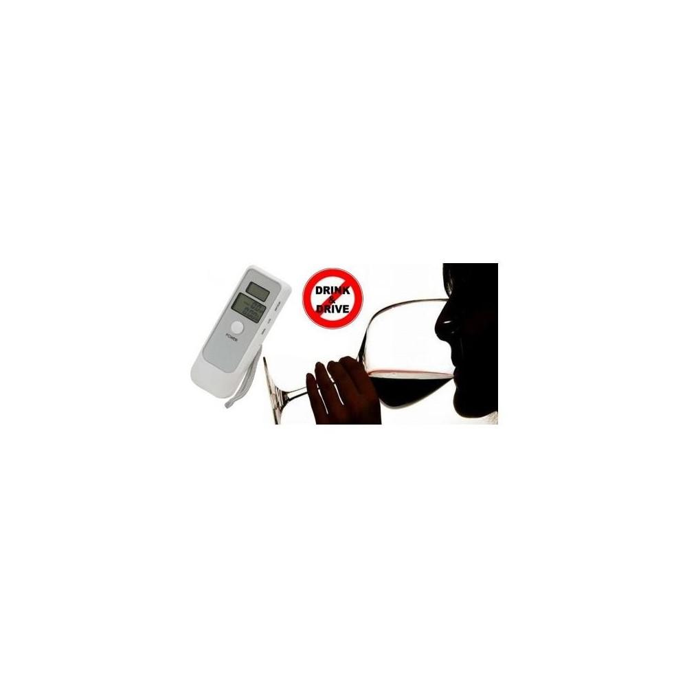 Alcool test doppio display digitale etilometro portatile lcd con orologio BIANCO