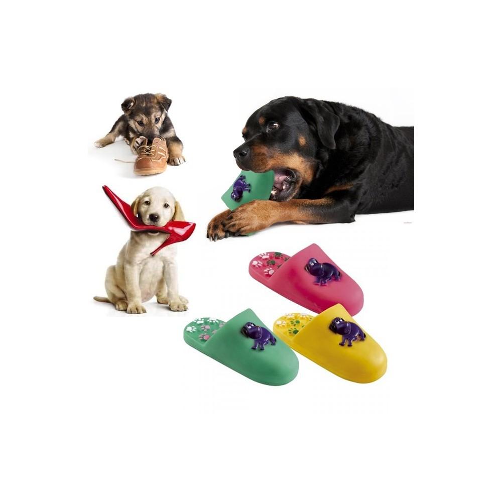 Gioco riportino per animali ciabatta 17 cm in gomma sonoro per cani e gatti