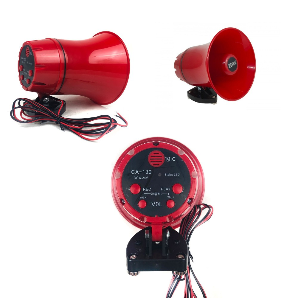 Megafono da auto CA-130 in PVC per annunci e pubblicità 25W funzione rec play