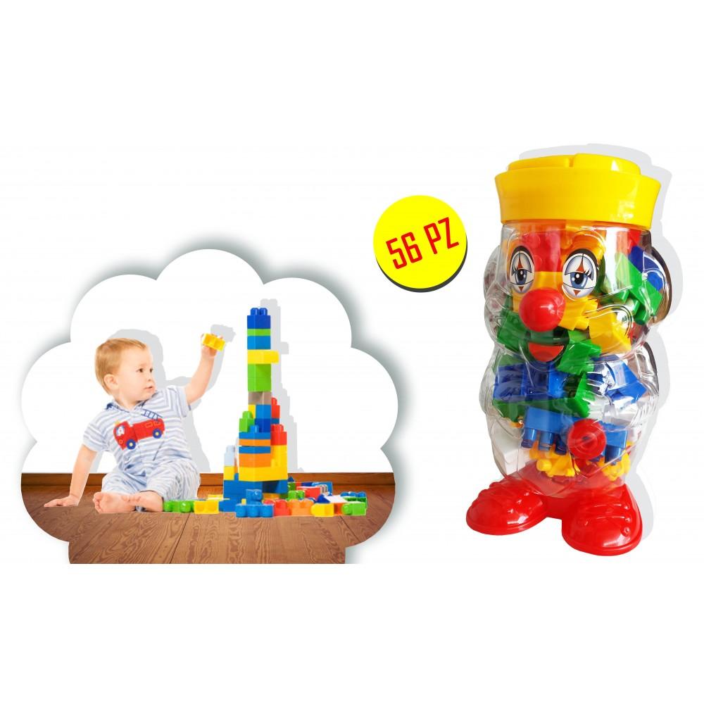 105246 Set di 56 pezzi di mattoncini in contenitore a forma di clown con maniglia costruzioni