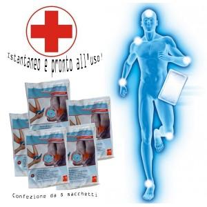 Kit 5 confezioni di ghiaccio istantaneo monouso 13 x 18 cm pronto soccorso piccoli e grandi traumi 902950