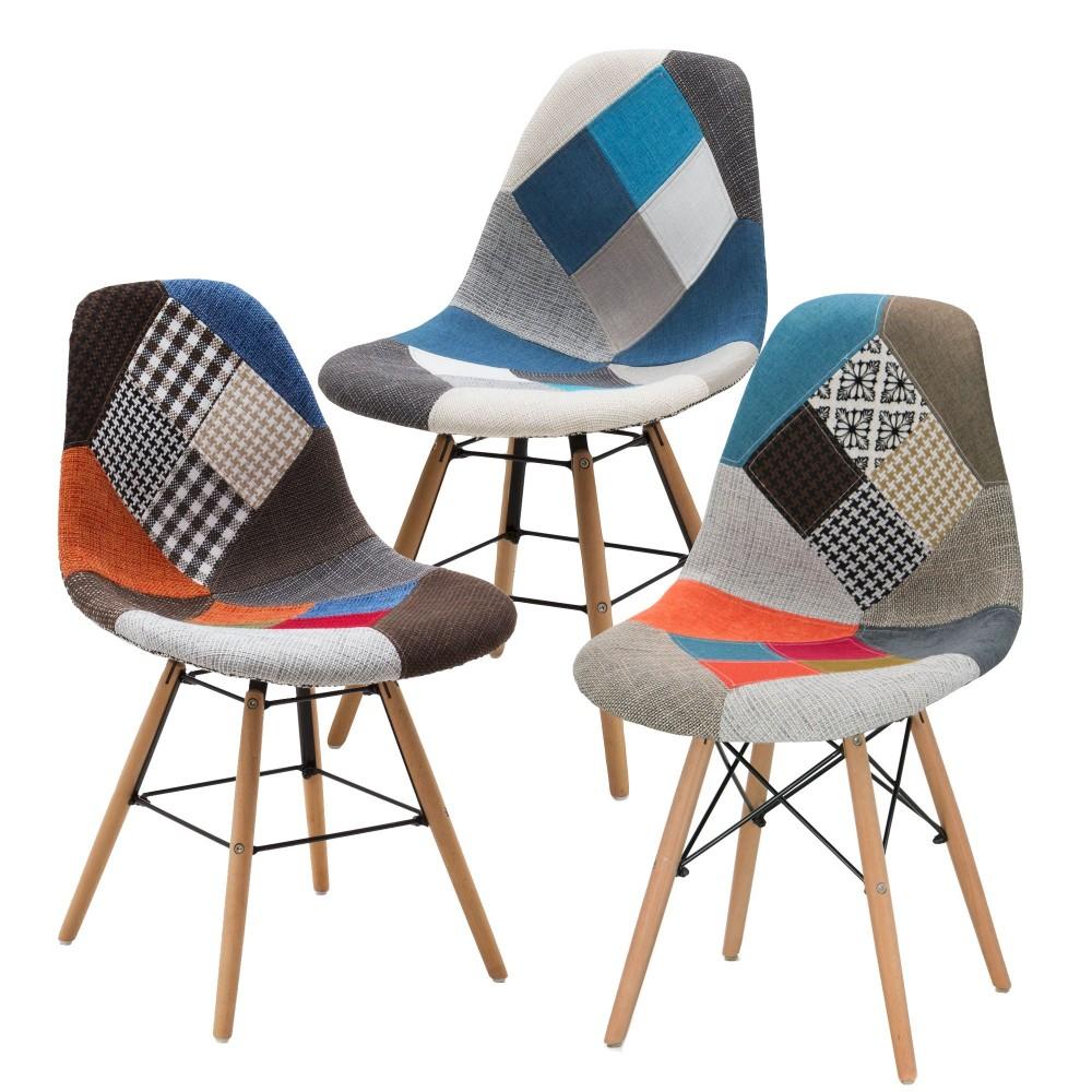 Set di 3 sedie Patchdesign VESTIAMO CASA 686406 gambe legno Faggio PATCHWORK