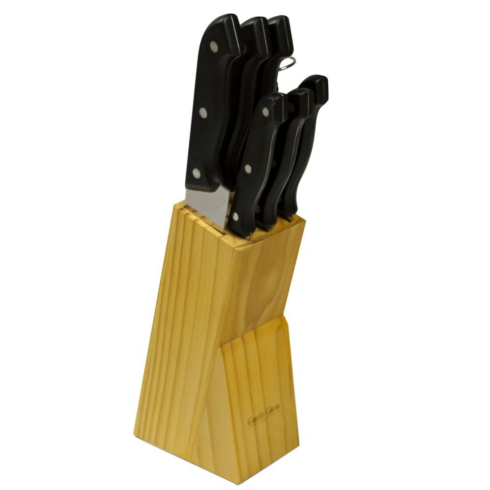 Ceppo di coltelli in acciaio inox 593732 Gusto Casa da 8 Pezzi base in legno