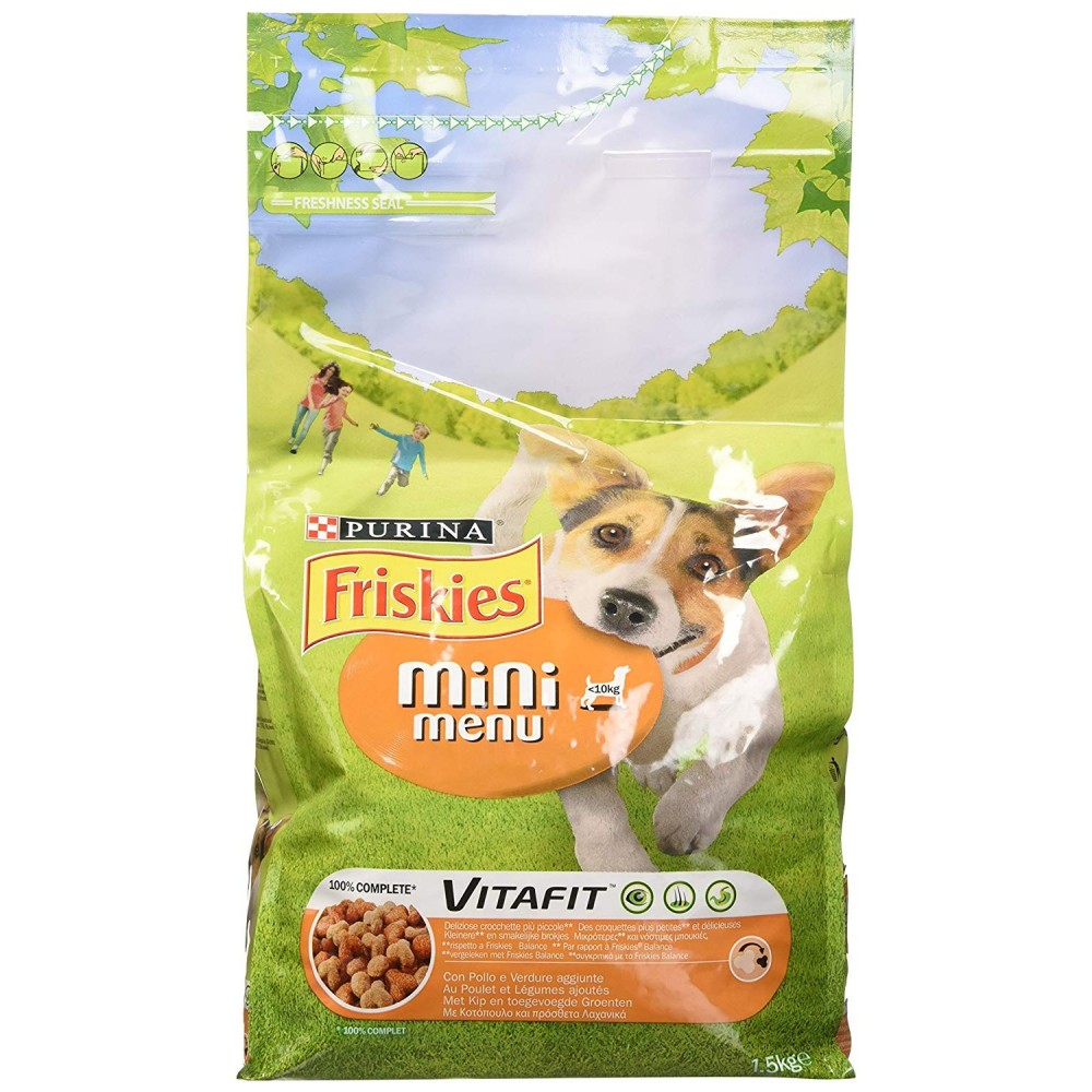 Friskies Vitafit Mini Menu Crocchette per Cani fino 10 kg Pollo e Verdure 1.5 kg