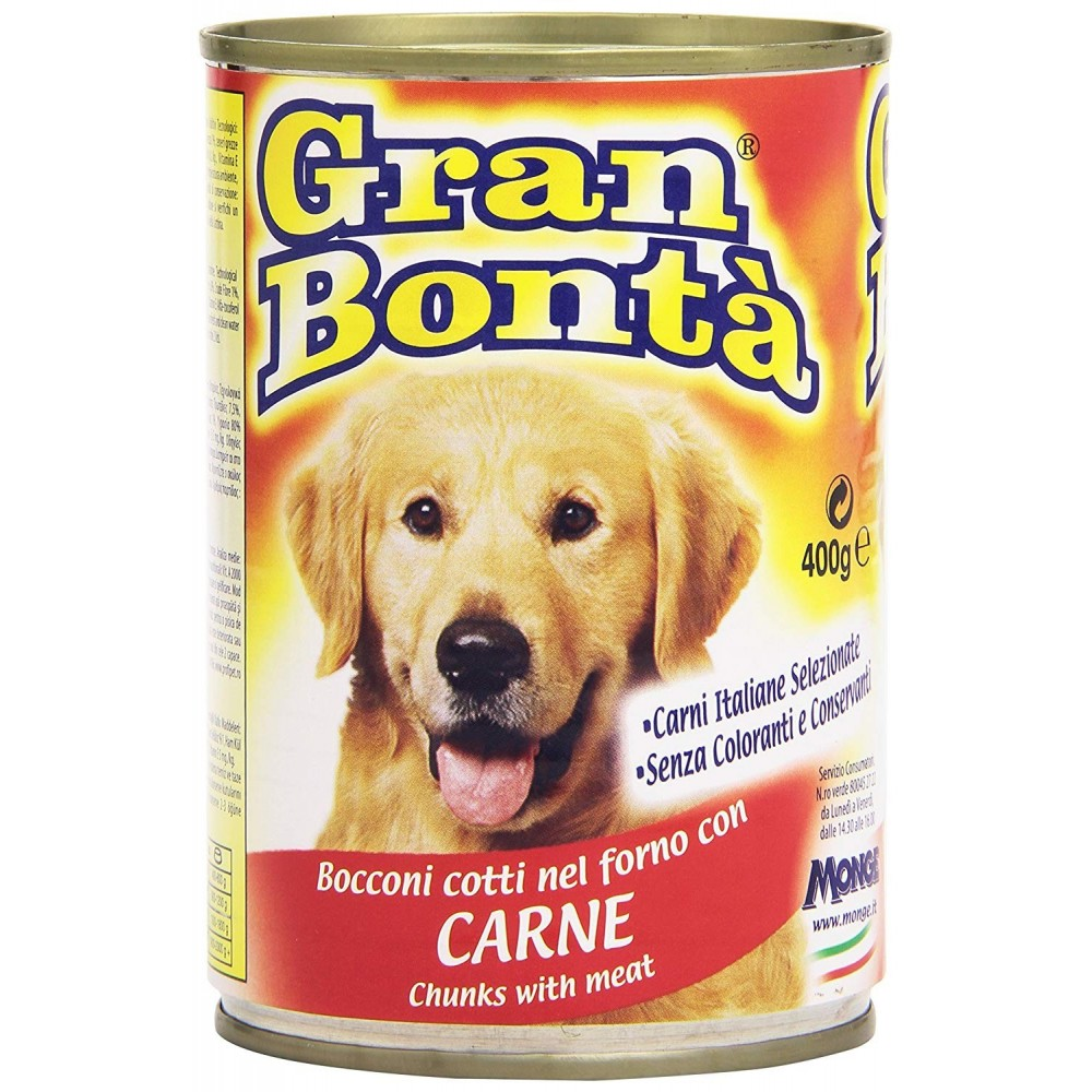 Monge GRAN BONTA' Bocconi con Carne scatoletta per cani da 400g con vitamine