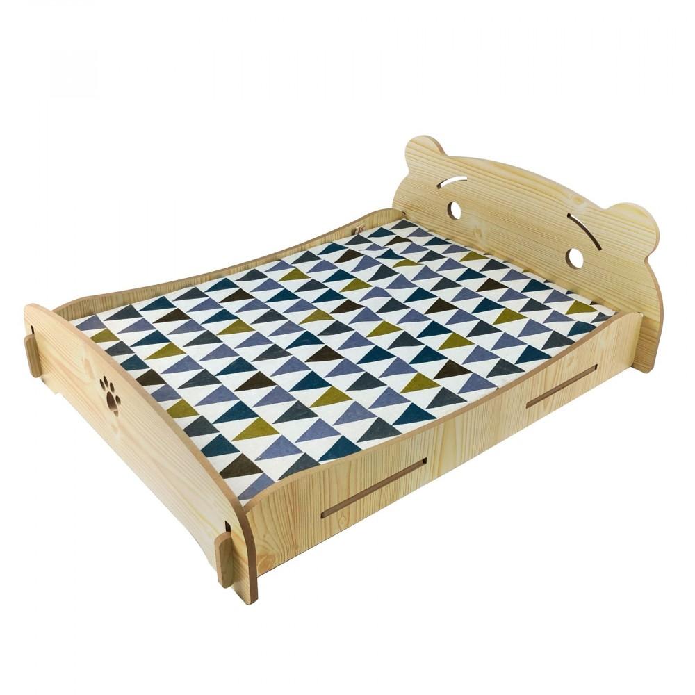 Letto cuccia per cani gatti 660034 Rhombus in legno 71x55x24 cm con cuscino