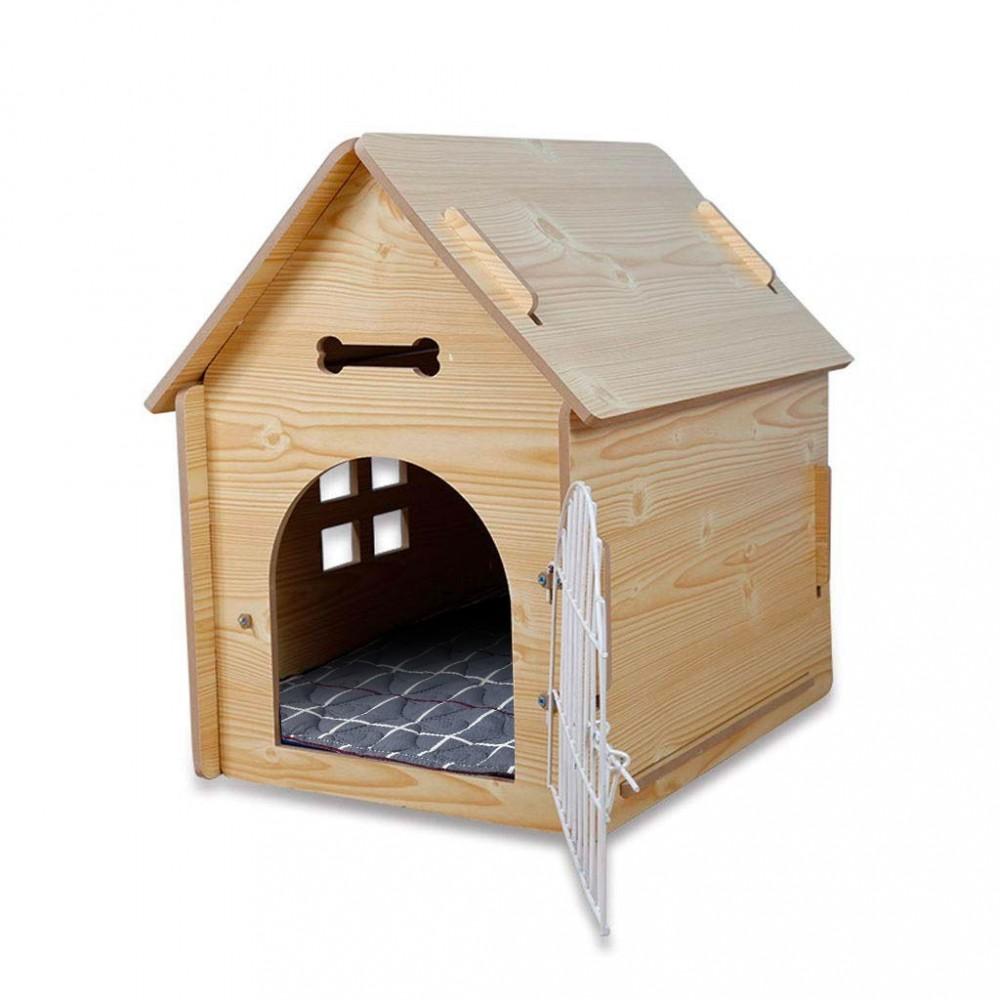 Cuccia a casetta BRISTOL M in legno con griglia 660010 per cani 57x44x57 cm