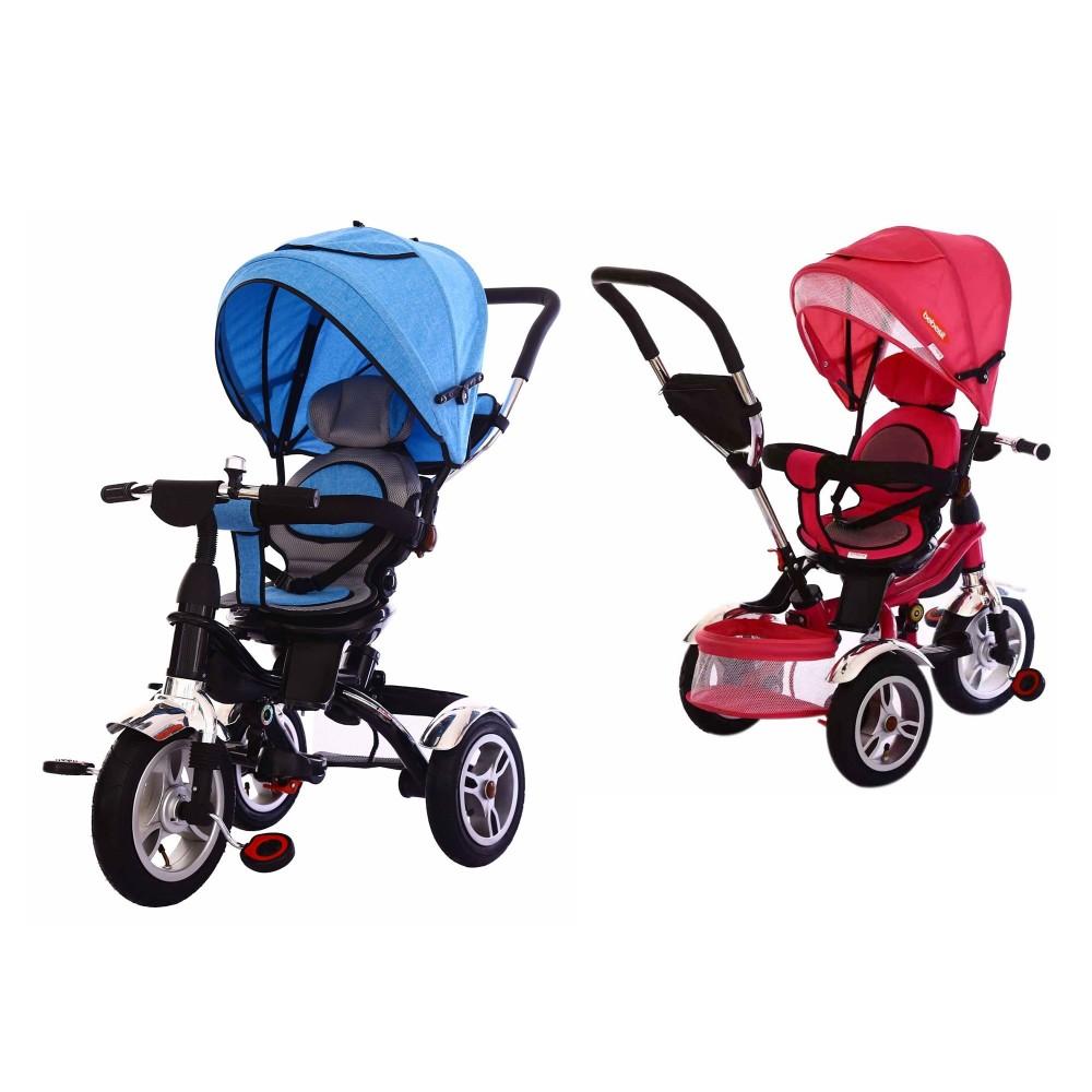 Triciclo a spinta BKT con pedali Reversibile B37304 per bambini con cappottina