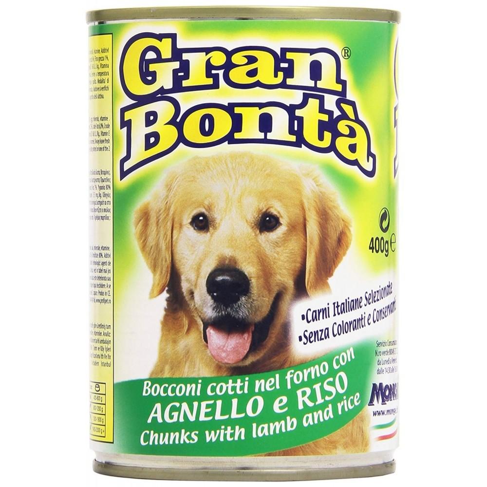 Confezione 12x Monge GRAN BONTA' Agnello e Riso per cani da 1230g con vitamine