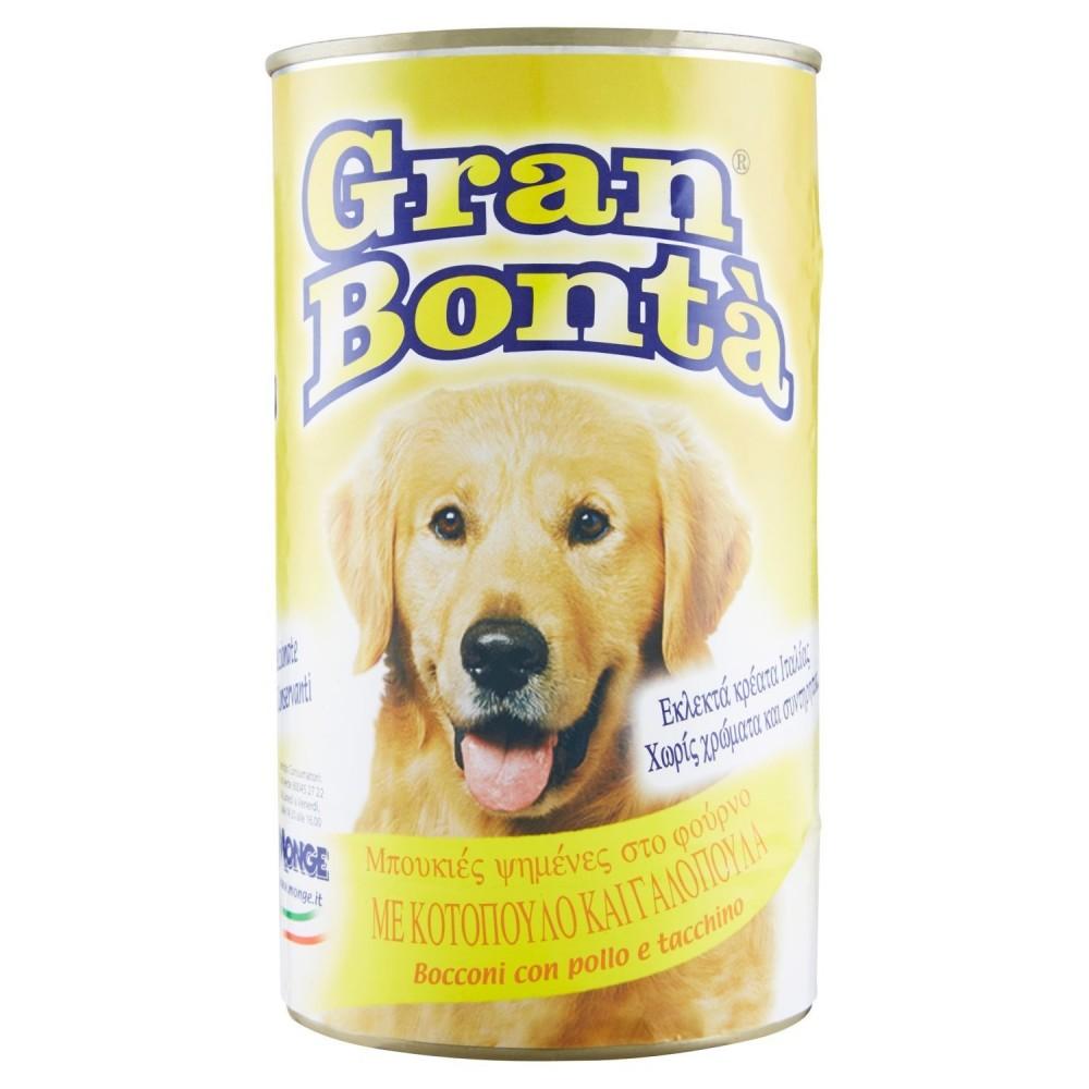 Confezione 12x Monge GRAN BONTA' per cani Pollo e tacchino 1230gr con vitamine