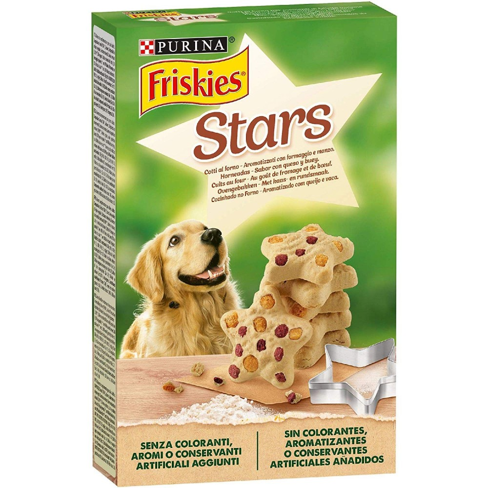 Pack 6 pz Purina Friskies Stars Biscotti Cane Aromatizzati Formaggio Manzo 320gr