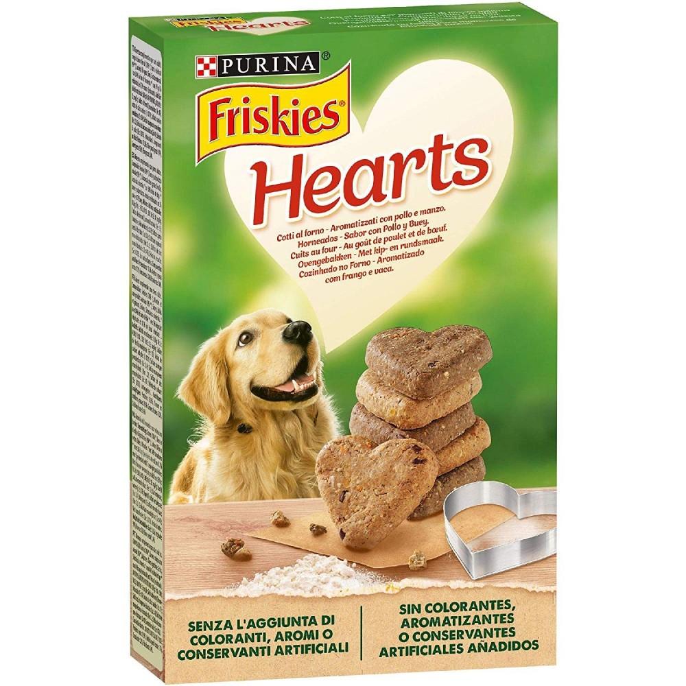 Pack 6 pz Purina Friskies Hearts Biscotti Cane Aromatizzati Pollo e Manzo 320gr