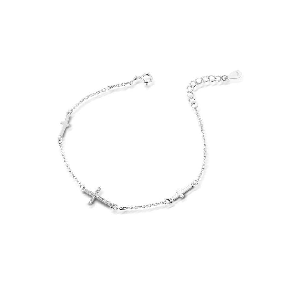 ONE JEWERLY Bracciale CROCE Donna AS0837 in argento 925 rodiato cubic zirconia