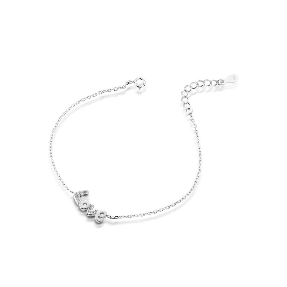 ONE JEWERLY Bracciale LOVE Donna AS0827 argento 925 rodiato zirconia bianco