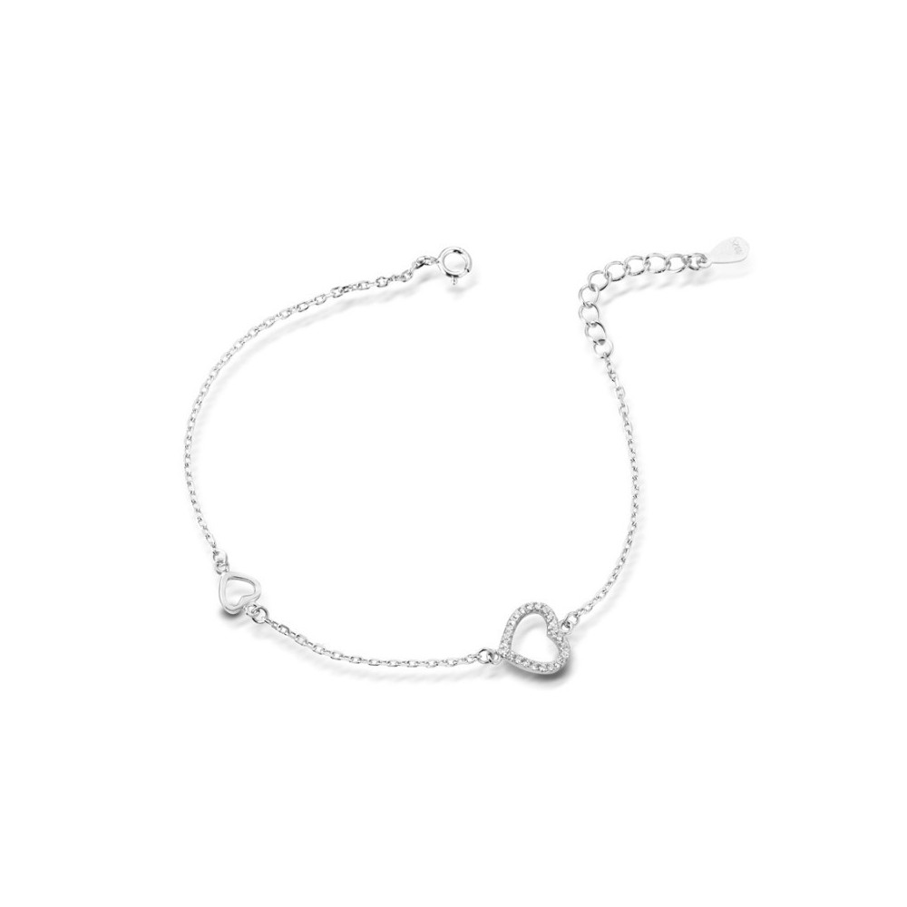 ONE JEWERLY Bracciale Cuore Donna AS0829 argento 925 rodiato zirconia bianco