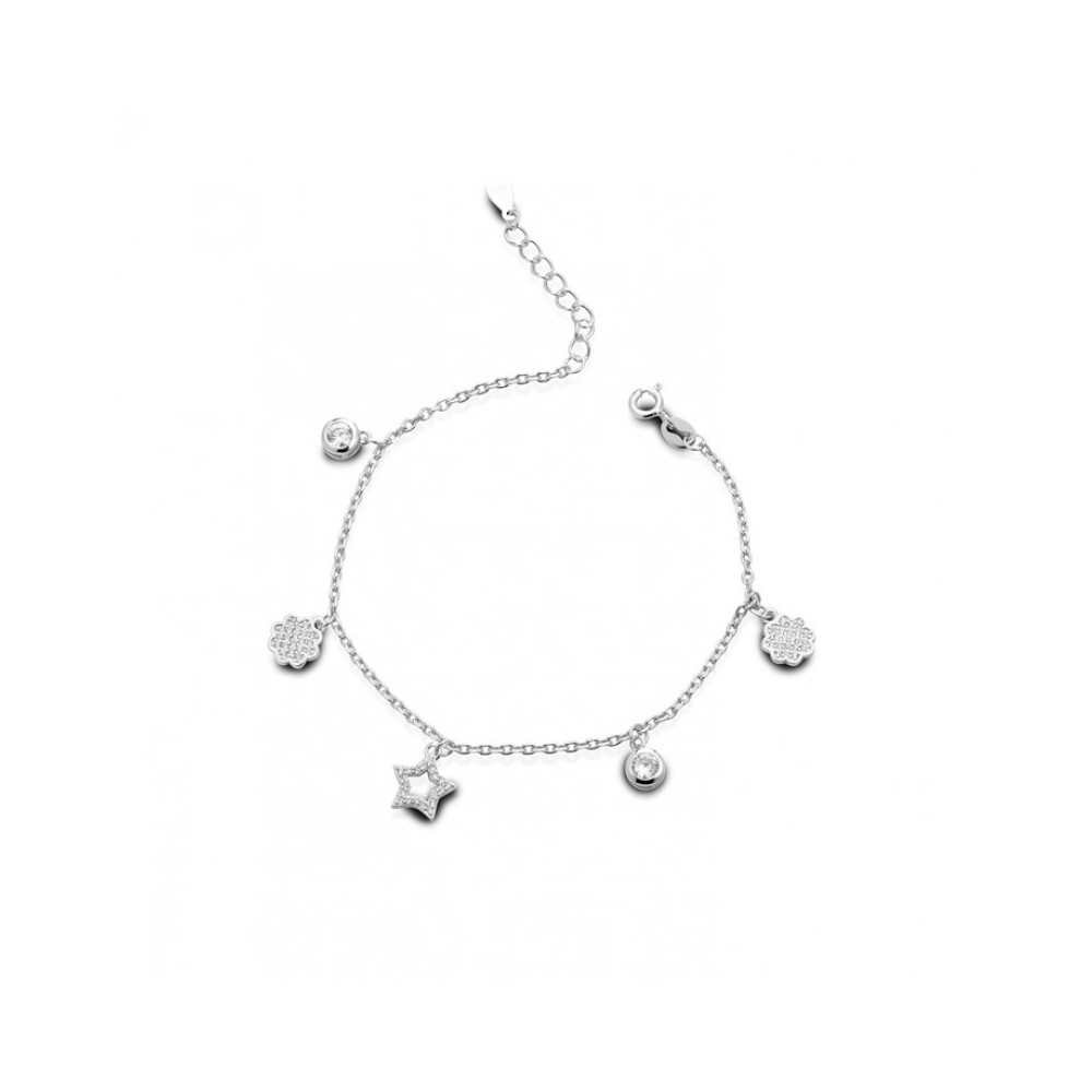 ONE JEWERLY Bracciale Charms Donna AS1098 argento 925 rodiato zirconia bianco