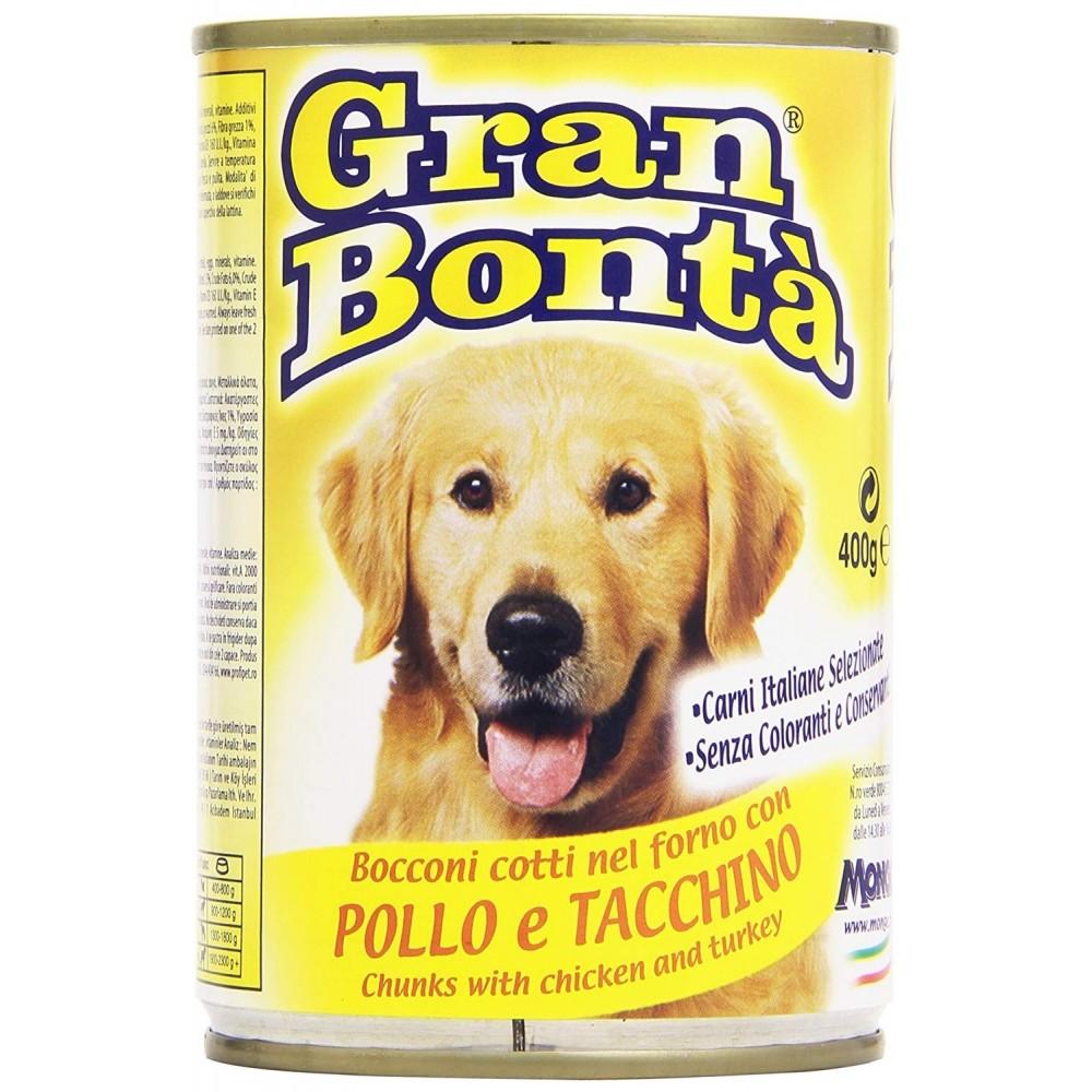Pack 24x Monge GRAN BONTA' per cani Pollo e tacchino scatoletta da 400g vitamine
